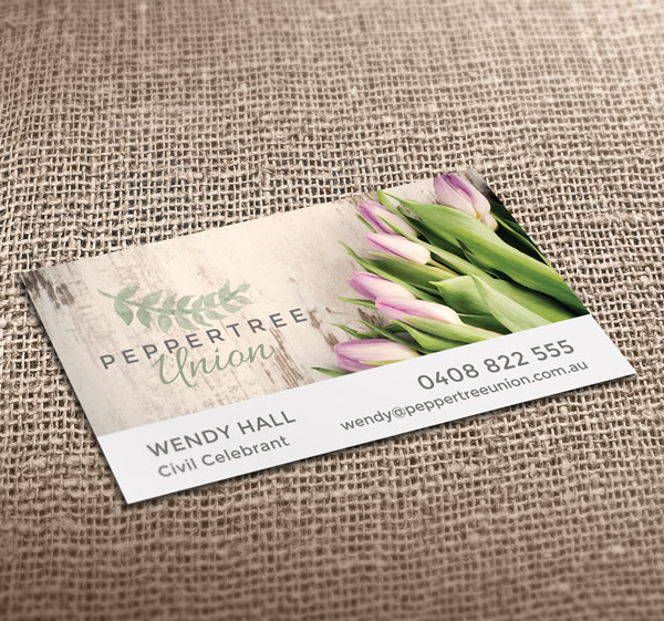 Peppertree Union Celebrant Business Cards Printed